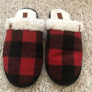 Plaid slippers , good condition